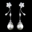 Elegance by Carbonneau E-4015-AS-DW Antique Rhodium CZ Crystal & Diamond White Pearl Drop Earrings 4015