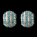 Elegance by Carbonneau Antique Silver Aqua & AB Rhinestone Encrusted Stud Earrings 40693