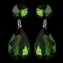 Elegance by Carbonneau Antique Silver with Large Emerald Rhinestone Teardrop Earrings 40698