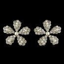 Elegance by Carbonneau E-4106-RD-WH Silver White Pearl & Rhinestone Flower Stud Earrings 4106