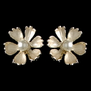 Elegance by Carbonneau E-4838-G-CH Gold Champagne Pearl Flower Stud Earrings 4838