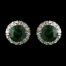 Elegance by Carbonneau Antique Silver Rhodium Emerald CZ Crystal Stud Earrings 5601