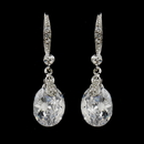 Elegance by Carbonneau E-5874-AS-Clear Gleaming Antique Silver Clear Oval CZ Dangle Earrings 5874