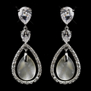 Elegance by Carbonneau E-5876-AS-Pearl Atnique Silver CZ & Mother of Pearl Earrings 5876
