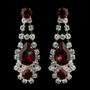 Elegance by Carbonneau E-70013-S-Red Silver Clear Crystal & Red Rhinestone Bridal Earrings 70013