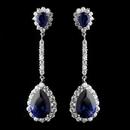 Elegance by Carbonneau Antique Silver Rhodium Sapphire CZ Crystal Drop Earrings 7244