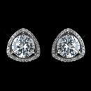 Elegance by Carbonneau Antique Rhodium Silver Clear Solitaire Pave Encrusted Stud Earrings 7405