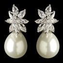 Elegance by Carbonneau E-7414-RD-DW Rhodium Clear Marquise CZ Crystal & Diamond White Pearl Drop Earrings 7414