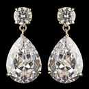 Elegance by Carbonneau E-7700-G-CL Gold Clear Round & Teardrop Drop Earrings 7700