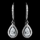 Elegance by Carbonneau Antique Rhodium Silver Clear Teardrop Encrusted CZ Crystal Leverback Earrings 7740