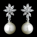 Elegance by Carbonneau Antique Rhodium Silver Diamond White & CZ Crystal Pearl Drop Earrings 7756