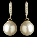 Elegance by Carbonneau E-7757-G-DW Gold Diamond White Pearl & Clear Rhinestone Drop Earrings 7757