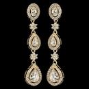 Elegance by Carbonneau E-7763-G-CL Gold Teardrop & Oval Pave Encrusted CZ Crystal Flower Dangle Earring 7763