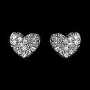Elegance by Carbonneau Antique Rhodium Silver Petite Pave Heart Children's Earrings 7776