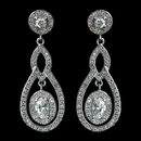 Elegance by Carbonneau Antique Rhodium Silver Clear CZ Crystal Pave Encrusted Vintage Earrings 7778