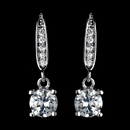 Elegance by Carbonneau Antique Rhodium Silver Clear Pave Drop With Round Petite CZ Crystal Drop Earrings 7786