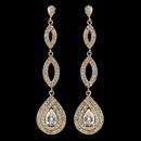 Elegance by Carbonneau E-7787-G-CL Gold Clear Teardrop Pave CZ Crystal Dangle Earrings 7787