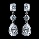Elegance by Carbonneau Antique Rhodium Silver Clear Princess, Solitaire & Teardrop CZ Crystal Earrings 7793