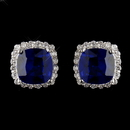 Elegance by Carbonneau Antique Silver Rhodium Sapphire & Clear Cushion CZ Crystal Cut Stud Earrings 7851