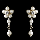 Elegance by Carbonneau Gold Ivory Floral Pearl Dangle Earrings 8001