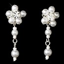 Elegance by Carbonneau Silver White Floral Pearl Dangle Earrings 8001