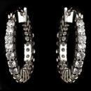 Elegance by Carbonneau E-82015-RD-CL Rhodium Clear CZ Crystal Hoop Earrings 82015