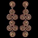 Elegance by Carbonneau E-82017-G-Pink Gold Pink Rhinestone Retro Circle Wheel Dangle Earrings 82017