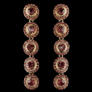 Elegance by Carbonneau E-82022-G-Pink Gold Pink Rhinestone Pave Circle Dangle Earrings 82022