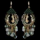 Elegance by Carbonneau E-82039-G-Green Gold Green Beaded & Rhinestone Hand Made Chandelier Earrings 82039