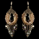 Elegance by Carbonneau E-82039-G-Peach Gold Peach Beaded & Rhinestone Hand Made Chandelier Earrings 82039