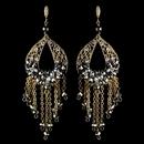 Elegance by Carbonneau E-82041-G-Smoke Gold Smoke & Clear Rhinestone Hand Made Chandelier Earrings 82041