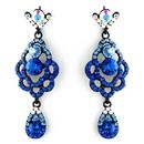 Elegance by Carbonneau E-8540-Blue Four Tone Blue Mix on Black Chandelier Earring Set 8540