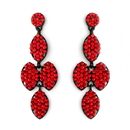 Elegance by Carbonneau E-8541-Red Four Tone Red Mix on Black Earring Set 8541
