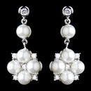 Elegance by Carbonneau E-8579-AS-White Antique Rhodium Silver Clear CZ Crystal & White Pearl Drop Flower Earrings 8579