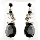 Elegance by Carbonneau E-8592-AS-Black Black Swarovski Crystal & CZ Swirl Earrings 8592