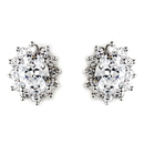 Elegance by Carbonneau E-8625-AS-Clear Antique Silver Clear CZ Crystal Earrings 8625