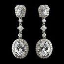 Elegance by Carbonneau E-8655-AS-Clear Antique Silver Clear Princess Oval CZ Crystal Dangle Bridal Earrings 8655