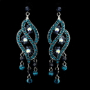 Elegance by Carbonneau E-8657-AS-Turquoise Antique Silver Turquoise & Blue Rhinestone Dangle Bridal Earrings 8657