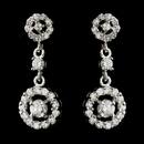 Elegance by Carbonneau E-8674-AS-Clear Antique Silver Clear Round CZ Crystal Bridal Dangle Bridal Earrings 8674