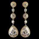 Elegance by Carbonneau E-8676-G-CL Gold Clear Round & Teardrop CZ Crystal Dangle Earrings 8676