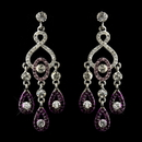 Elegance by Carbonneau E-8681-S-Amethyst Silver Amethyst & Clear Rhinestone Chandelier Bridal Earrings 8681