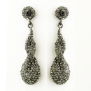 Elegance by Carbonneau E-8682-AS-Smoked Antique Silver Smoked Rhinestone & Crystal Dangle Bridal Earrings 8682