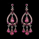 Elegance by Carbonneau E-8686-S-Pink Silver Pink Crystal & Rhinestone Chandelier Bridal Earrings 8686