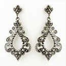 Elegance by Carbonneau E-8688-AS-Smoked Antique Silver Smoked Rhinestone Chandelier Bridal Earrings 8688