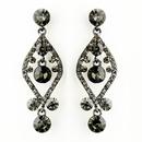 Elegance by Carbonneau E-8705-H-Smoked Hematite Smoked Crystal & Rhinestone Post Dangle Bridal Earrings 8705