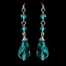 Elegance by Carbonneau E-8737-S-Teal Silver Teal Crystal Tear Drop Dangle Earrings 8737