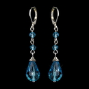 Elegance by Carbonneau E-8745-S-Aqua Silver Aqua Crystal Bead Drop Bridal Earrings 8745