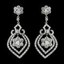 Elegance by Carbonneau E-8748-AS-Clear Antique Silver Clear CZ Crystal Flower Bulb Bridal Earrings 8748