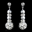 Elegance by Carbonneau E-8751-S-Cloud Silver Cloud Rondelle Pearl Drop Earrings 8751