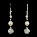 Elegance by Carbonneau E-8767-S-DW Silver Diamond White Pearl & Clear Rhinestone Pave Ball Dangle Earrings 8767